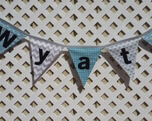 Teal and Gray Nursery Banner Teal Baby Shower, Houndstooth Bunting Gray Chevron NAME Teal Green Stripe Banner, First Birthday Smash Cake