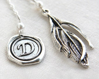 Monogram Bookmark, Initial Personalized Bookmark, Stamped Alphabet Wax Seal, Feather Charm White Pearl Sterling Silver Bookmark or Necklace