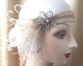 1920s flapper or edwardian headband with antique metallic trims, flower of antique beads with ivory feathers