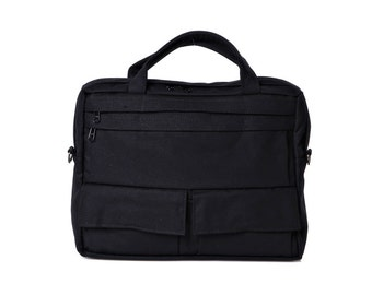 Black,Messenger Bag, Briefcase,Padded laptop Bag, travel Bag- D.T in Black cotton canvas