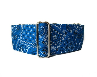 Blue Martingale Collar, 2 Inch Martingale Collar, Bandana Martingale Collar, Blue Bandana, Blue Dog Collar, Preppy, Martingale Dog Collar