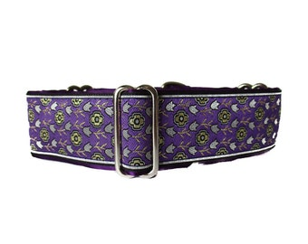1.5 Inch Martingale Collar, Purple Martingale Dog Collar, Purple Dog Collar, Jacquard Dog Collar, Greyhound Collar, Wide Dog Collar