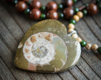 Moroccan Heart Shaped Fossil Necklace - Mohagany