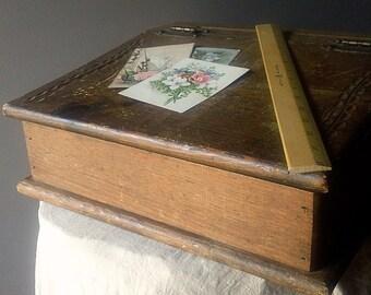 Vintage Wooden Lap Desk - Slanted lap desk with carved wooden lid