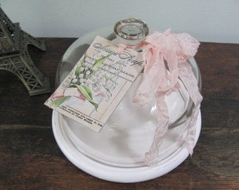 Glass Cloche, Pink Wood Based Cloche and Floral Tag
