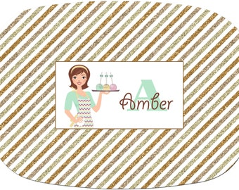 Personalized Monogramed Platter Striped Tri-color Gold Glitter as shown Or Design Your Own Melamine Platter