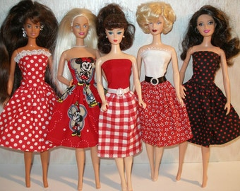 Handmade Barbie clothes - mixed lot of 5 red print dresses