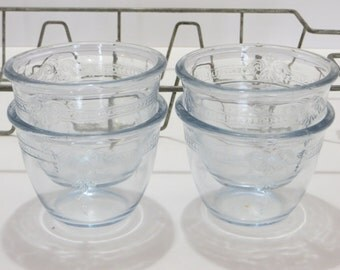 Vintage Fire King Fireking Custard Cups with Rack-Philbe Pattern in Sapphire Blue