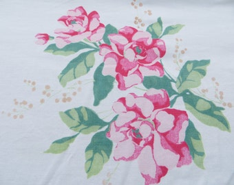 Vintage Tablecloth-Pink and Jadite-Roses-Shabby-Cottage-Chic