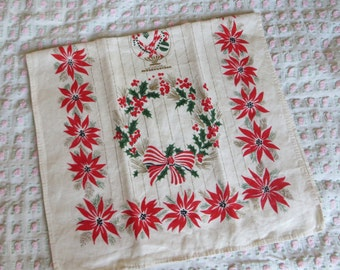 Vintage Mid-century Christmas Kitchen Towel-Christmas Tree-Cottage Chic-Gold-Wreath-Poinsettia