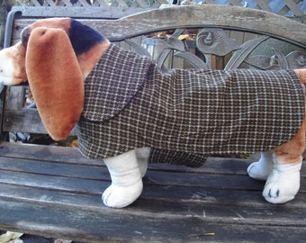 Brown Corduroy Houndstooth Dog Coat- Size Med- 16-18 Inch Back Length