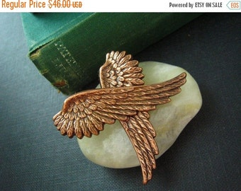 CLEAROUT SALE 40% OFF Angel wing-- vintage style ox copper earring post, surgical steel