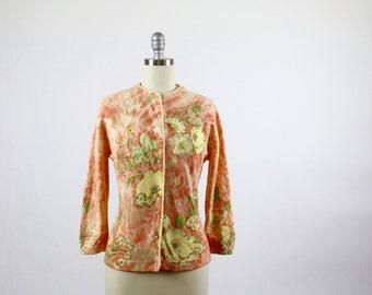 Vintage Sweater / 1950s Sweater / 50s Sweater / Vintage Cardigan / Angora Sweater Angelon by Darlene Sweater Cardigan Floral 1960s 60s