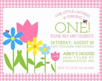 Birthday Party Invitation, Ladybug Birthday Party Invitation, Ladybug Invitation, First Birthday Invitation, Flowers Birthday Invitation