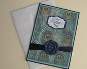 Mothers Day Card Teal and Blue Peacock Feather Blank Inside