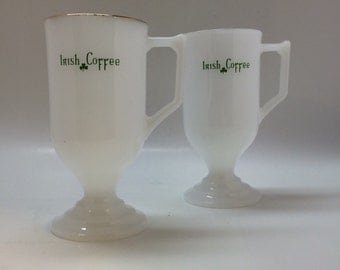 Vintage Irish Coffee mugs Milk Glass with gold trim