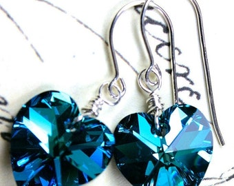 ON SALE Bermuda Blue Swarovski Crystal Heart Earrings - Blue Hearts -  Wire Wrapped with Sterling Silver and Swarovski Crystal