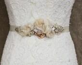 Silver, Rose Gold, Burlap wedding dress sash belt Bridal dress sash belt Rustic Champagne Narrow thin floral wedding dress sash belt OOAK