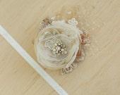 Bridal headpiece, Champagne Bridal hair piece, Wedding hair flower, Wedding flower headpiece, Bridal Hair accessories, Tan, Gold, Fascinator