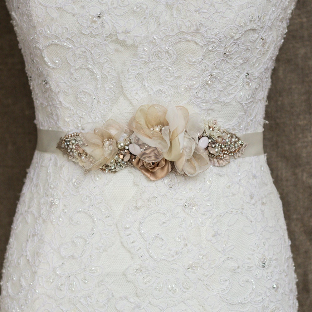 Wedding belt Silver Rose Gold Burlap wedding dress sash
