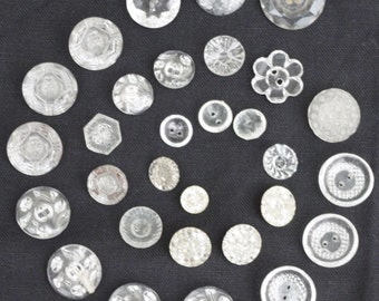 Antique - Large collection of 30 Decorative Glass Buttons - Various beautiful Designs - c1900s