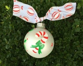 Hand Painted Candy Cane Ornament - Personalized Christmas Bauble, Red and White Candy, Custom Personalizing