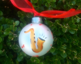 Saxophone Ornament Hand Painted - Personalized Ornament for Birthday, Award, Christmas - Glass Bauble, Teacher Gift, Jazz Art, Jazz Lover,