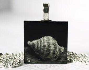 Original Wearable Art Original Art Pendant Original Drawing Pendant Shell Art Pendant Scratchboard Pendant Art Necklace Miniature Art