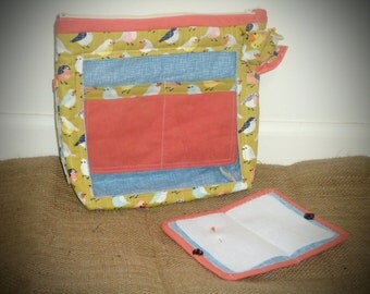 Sewing project bag, storage project zipper bag, birdie zipper bag, accessories bag