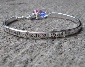 Stamped Sterling Phrase Cuff Bracelet - 13 font choices