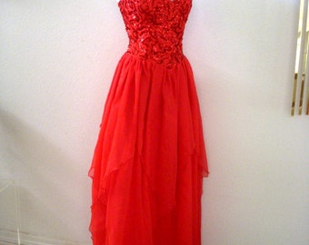 Vintage 60s RED Strapless Evening Dress - Red Layered Chiffon Prom Dress - Red Sequin and Chiffon Maxi Dress with Metal Zipper - Small 2 - 4