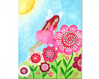Pink Flower Fairy, 11x14 inch acrylic painting for girls room or nursery
