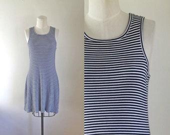50% OFF...last call // vintage 1990s tank dress - BAY SIDE stripe cotton jersey dress / xs-s-m
