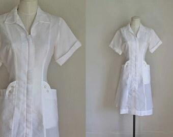 vintage 1950s nurse uniform dress - PENNY sheer nylon waitress dress / M