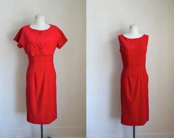 vintage 1950s red velvet dress set - RED VEVLET party dress + bolero / XS