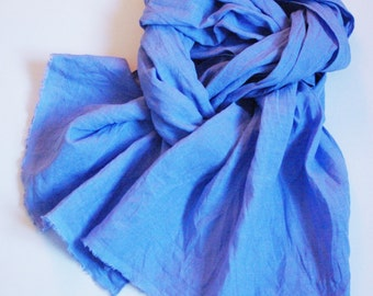Blue scarf prewashed men's urban natural linen cobalt blue long unisex shawl for all seasons