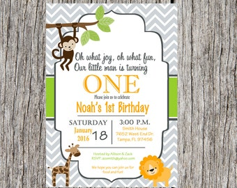 Jungle animals birthday invitation, Jungle birthday invitation, monkey invitation, jungle animals, boy birthday, custom and printable