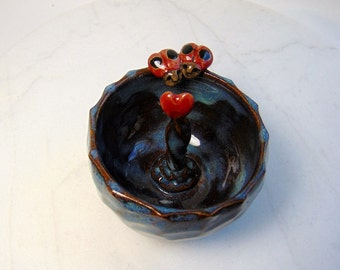 lady Bug Pig Ring Holder - Candy Dish with Lady Bugs - Trinket Bowl - Pottery Animals - Wheel Thrown - Red and Blue - Lady Byrd Ring Holder