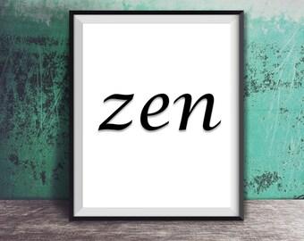 Sale! Zen Namaste Yoga Inspirational poster, typography art, well decor, mottos, minimal, gift idea, inspiration, black and white quote