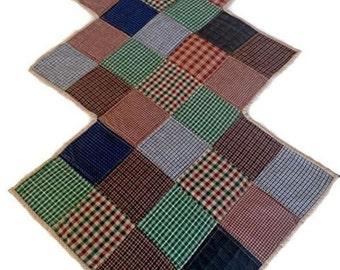 "Homespun Primitive Quilted Tablerunner, Table Topper, Tablecloth Centerpiece Mat – 21-1/2"" wide x 44"" long - Blue, Green, Tan, Burnt Red"