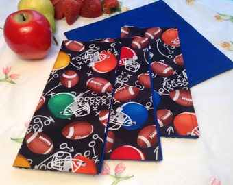 Football Cloth Napkins -  REVERSIBLE Lunch Box Napkins, Set of 4, Football Helmets and Footballs, Reusable Napkins, Fabric Napkins