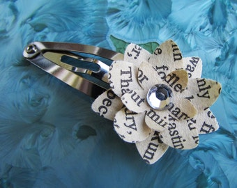 Book Page Flower Clip (Rhinestone Center - Assorted Colors)