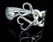 Antique Silverware Jewelry Fork Bracelet in Original Weaving Hearts Design