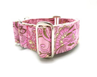 "Houndstown 1.5"" Pink Deco Martingale Collar Size Medium"