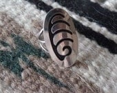 Sterling Overlay Ring, Hopi Style Ring, Wave Ring, Southwest Ring
