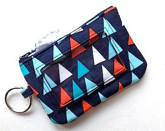 ID Keychain Wallet/Student ID Holder/Id Holder/Badge Holder/Keychain Coin Purse/Id Card Case/Card Wallet -Nautical Flags Navy Red Aqua