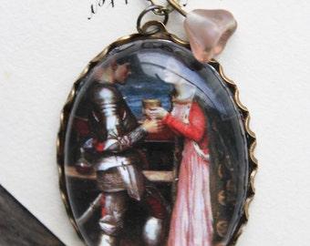 Tristram and Isolde. John William Waterhouse. (magnifying pendant art book illustration jewelry antique romantic roses)