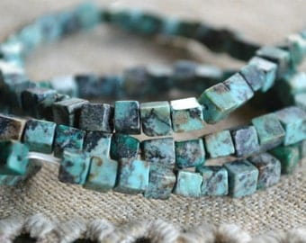4x4mm Cube African Turquoise Blue Natural Gemstone Beads 16 Inches Strand