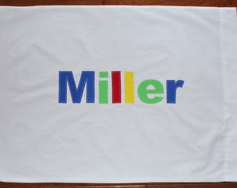 Boy's Personalized Pillow case - birthday gift idea, boys bedding, name pillowcase, summer camp, party favor, personalized gift, sleepover