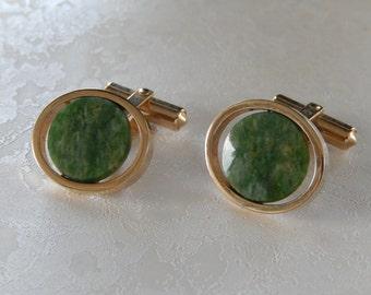 Marbled Green Stone Cufflinks, Vintage  Cufflinks, Gift for Him